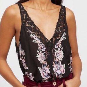 Free People Floral print black camisole